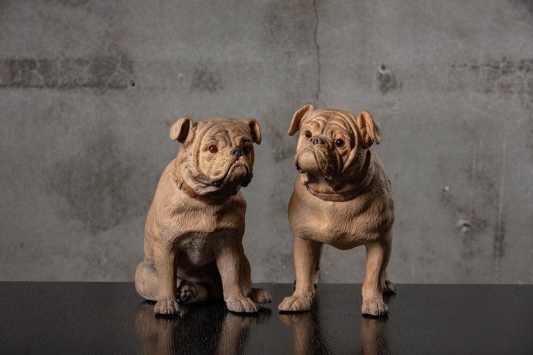 British 19th Century English Pair of Terracotta Bulldogs For Sale