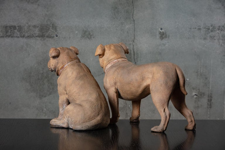 19th Century English Pair of Terracotta Bulldogs In Distressed Condition For Sale In Los Angeles, CA