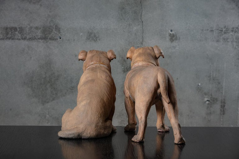 19th Century English Pair of Terracotta Bulldogs For Sale 1