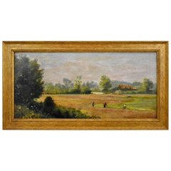 English Pastoral Farm Scene Oil on Linen Painting, Gold Leaf Wood Frame