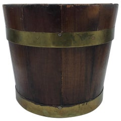 19th Century English Pine and Brass Banded Collar Bucket Cachepot