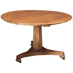 19th C English Pine Pedestal Breakfast Centre Table
