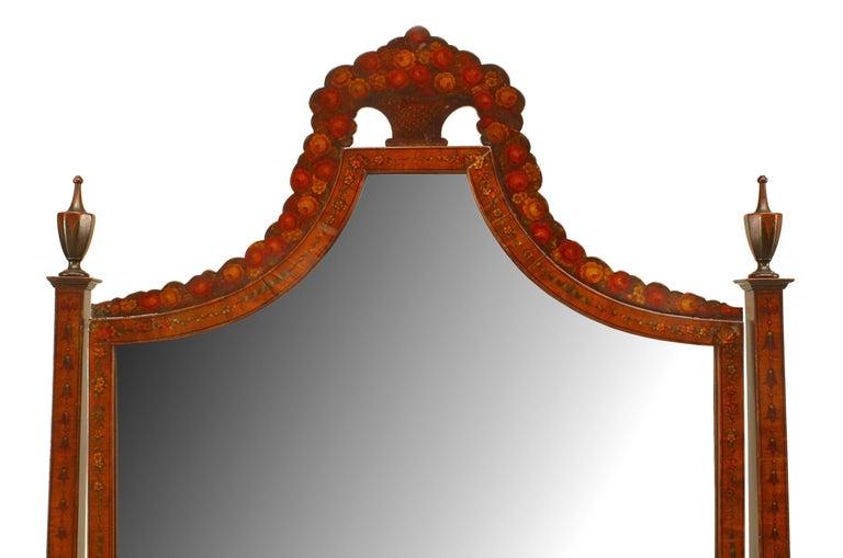 19th Century 19th c. English Sheraton Decorated Cheval Mirror For Sale