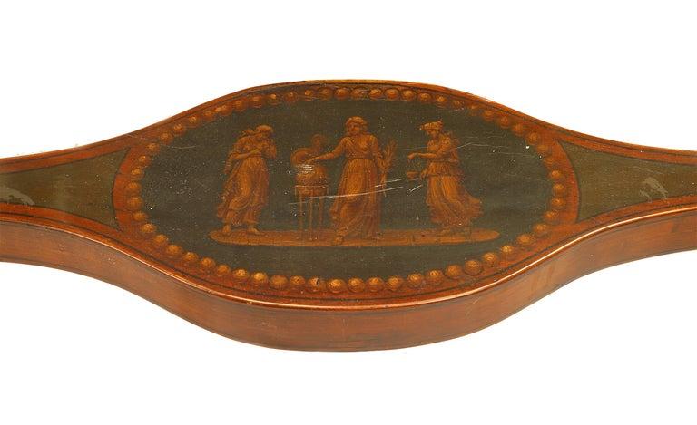 19th c. English Sheraton Decorated Cheval Mirror For Sale 4