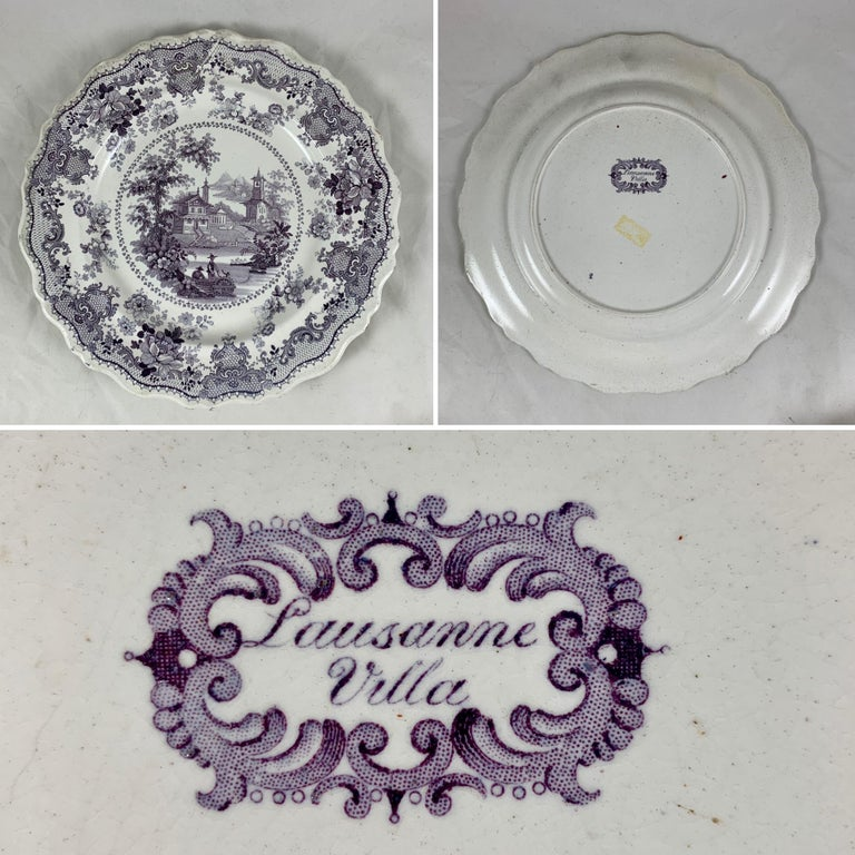 English Staffordshire Purple Transferware Dinner Plates, Mixed Set of 6 For Sale 3