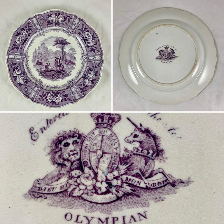 English Staffordshire Purple Transferware Dinner Plates, Mixed Set of 6 For Sale 4
