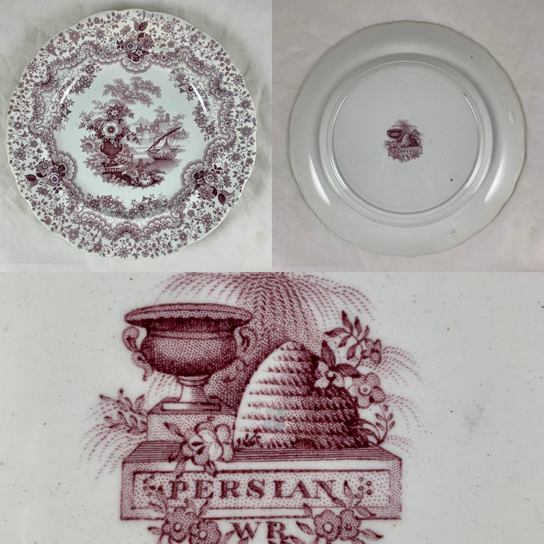 English Staffordshire Purple Transferware Dinner Plates, Mixed Set of 6 For Sale 5