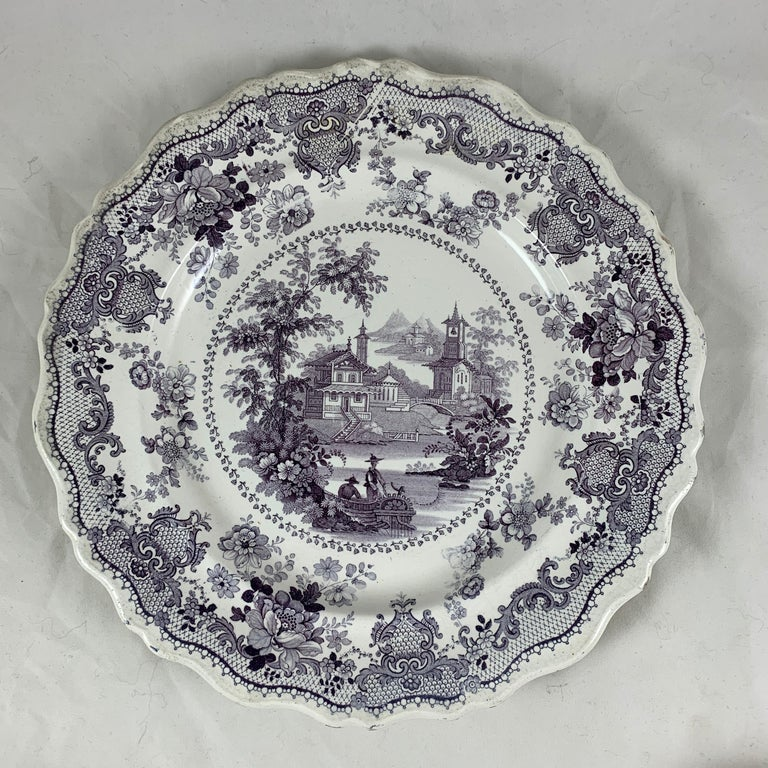 Glazed English Staffordshire Purple Transferware Dinner Plates, Mixed Set of 6 For Sale