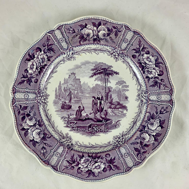 English Staffordshire Purple Transferware Dinner Plates, Mixed Set of 6 In Good Condition For Sale In Philadelphia, PA