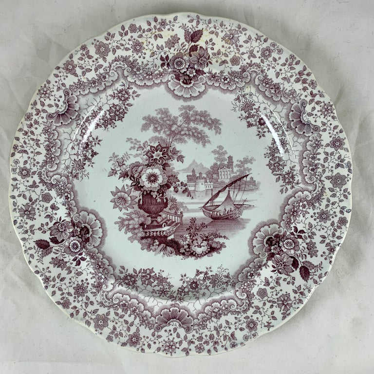 19th Century English Staffordshire Purple Transferware Dinner Plates, Mixed Set of 6 For Sale