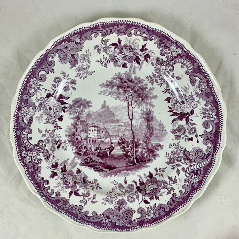 Earthenware English Staffordshire Purple Transferware Dinner Plates, Mixed Set of 6 For Sale