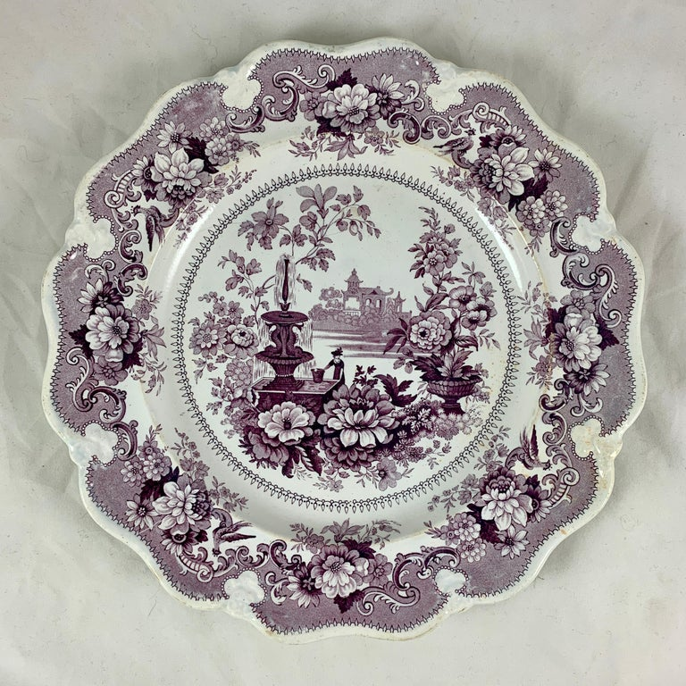 English Staffordshire Purple Transferware Dinner Plates, Mixed Set of 6 For Sale 1