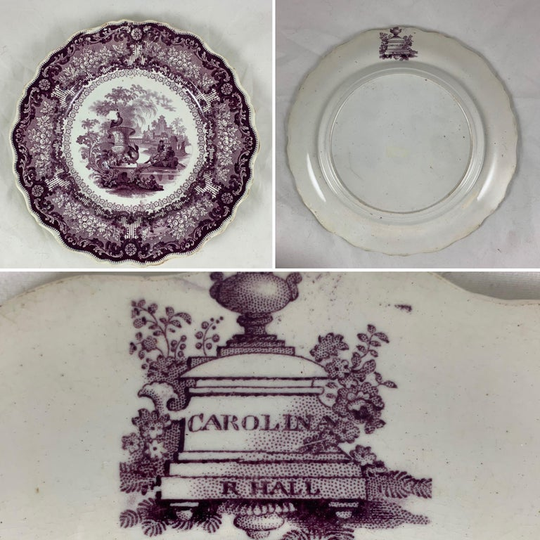 English Staffordshire Purple Transferware Dinner Plates, Mixed Set of 6 For Sale 2