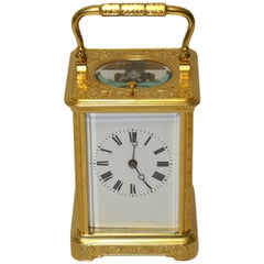 19th Century Engraved and Gilt 8 Day French Striking & Repeating Carriage Clock