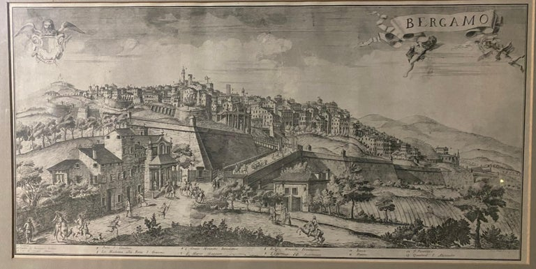 A fine engraving of the ancient City of Bergamo depicting its architecture and historical places of interest. Nicely matted and framed. Search term: art, painting. lithograph.