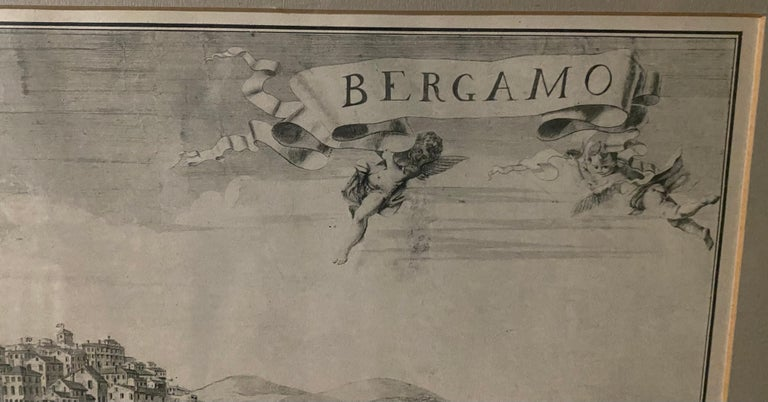 Italian 19th C Engraving of the City of Bergamo, Italy For Sale