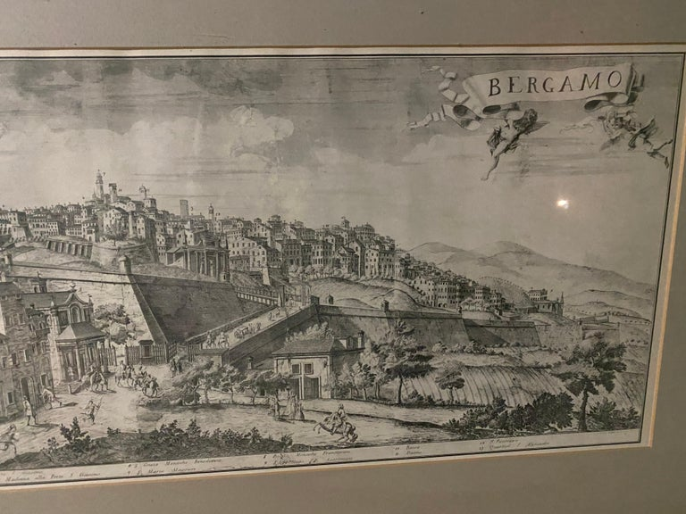 19th C Engraving of the City of Bergamo, Italy In Good Condition For Sale In Great Barrington, MA