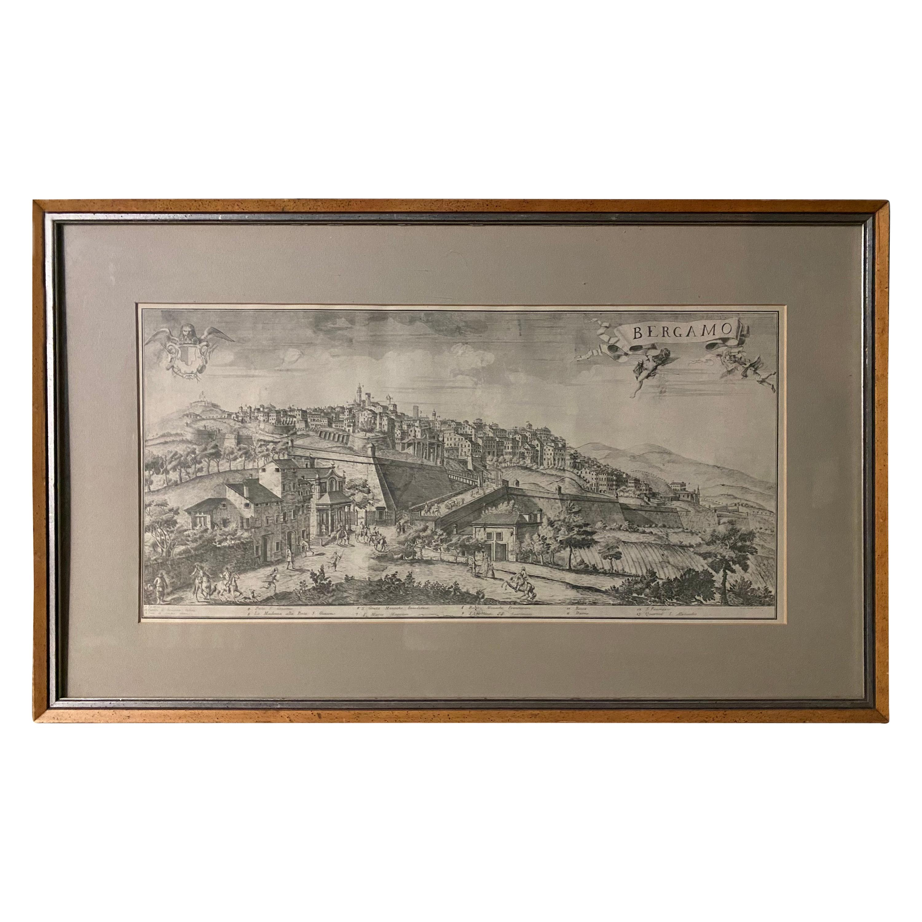 19th C Engraving of the City of Bergamo, Italy
