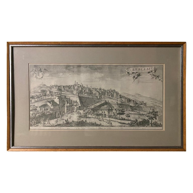 19th C Engraving of the City of Bergamo, Italy For Sale