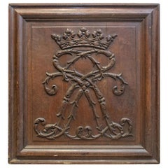 19th Century European Hand Carved Wood Panel with Royal Monogram, circa 1850