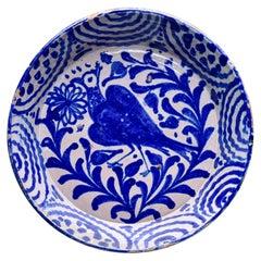 19th C Fajalauza Blue White Spanish Glazed Terra Cotta Bowl with Crested Bird