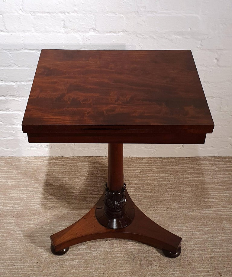 English 19th Century Flame Mahogany Folding Games Table For Sale
