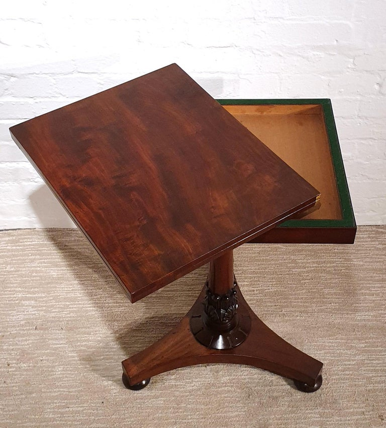 Carved 19th Century Flame Mahogany Folding Games Table For Sale