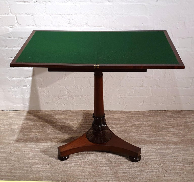 19th Century Flame Mahogany Folding Games Table In Good Condition For Sale In London, GB