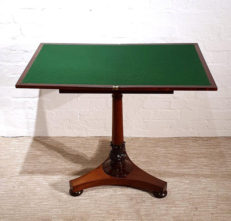 19th Century Flame Mahogany Folding Games Table For Sale 2
