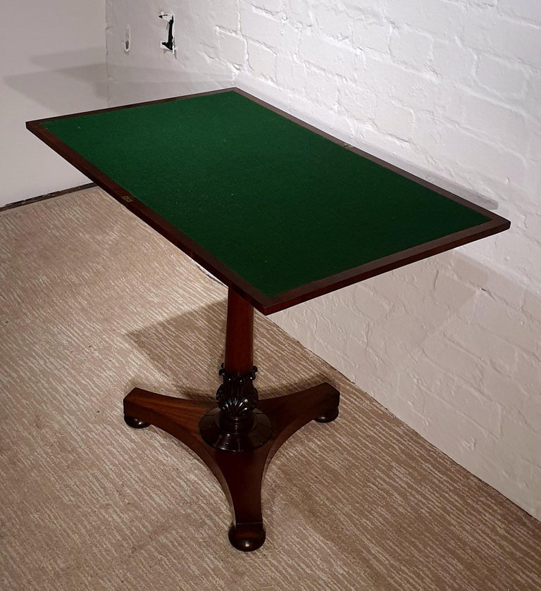 19th Century Flame Mahogany Folding Games Table For Sale 3