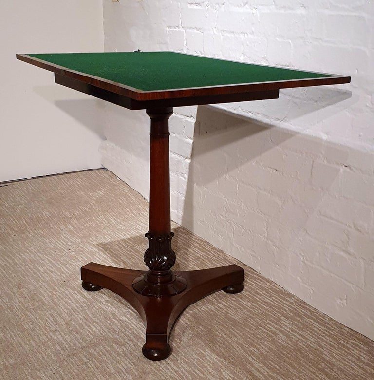 19th Century Flame Mahogany Folding Games Table For Sale 4