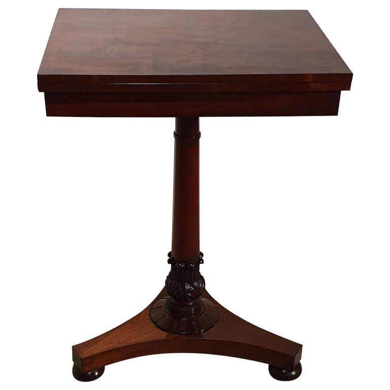 19th Century Flame Mahogany Folding Games Table For Sale