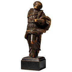 19th Century Flemish School, Wooden Statue of Moses Holding the Ten Commandments