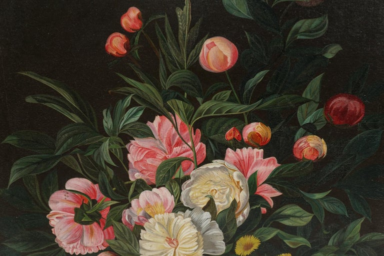 Neoclassical 19th Century Flower Painting For Sale