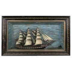 19th Century Folk Art Shadowbox Display of a Half Model Clipper Ship