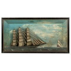 19th Century Folk Art Shadowbox Display of Clipper Ship