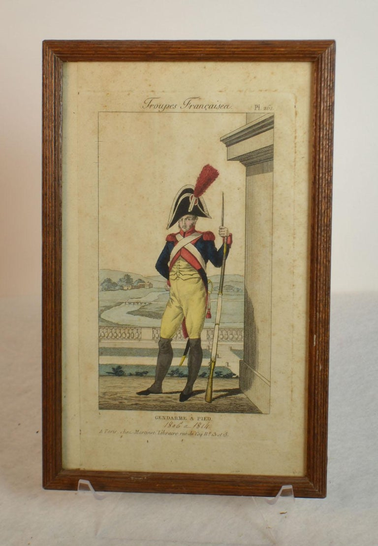 Framed Empire period engraving of French cavalry French troops: Foot Constable. Bookseller A. Martinet in Paris, and Saluden Brest Galarie.