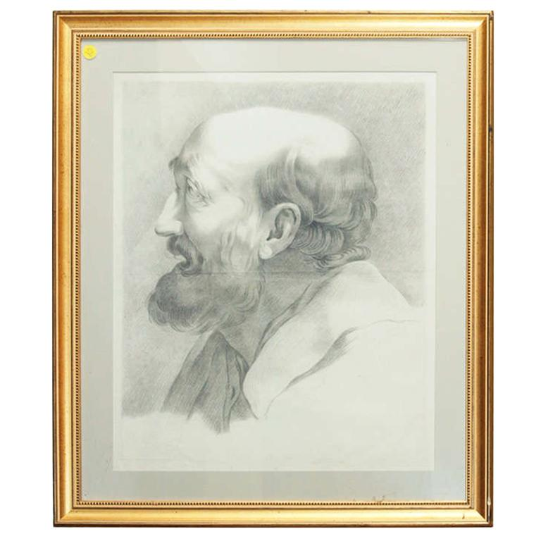19th C. French Academy Drawing Of Old Man