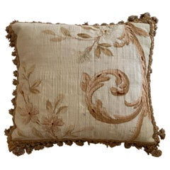19th C. French Aubusson Tapestry Square Pillow with Foliage and Petite Tassels