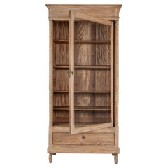 19th C French Bedel & Cie Bleached Pine Glazed Bookcase