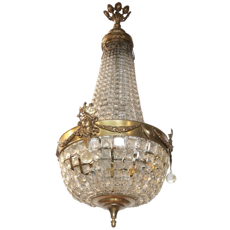 19th Century Austrian Maria Theresa Bronze and Crystal Chandelier