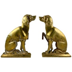 French Bronze & Iron Seated Dogs Figural Firedogs, Andirons or Chenets