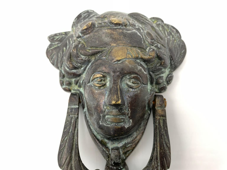 19th Century French Bronze Verdigris Female Figure Door Knocker In Good Condition For Sale In Richmond, VA