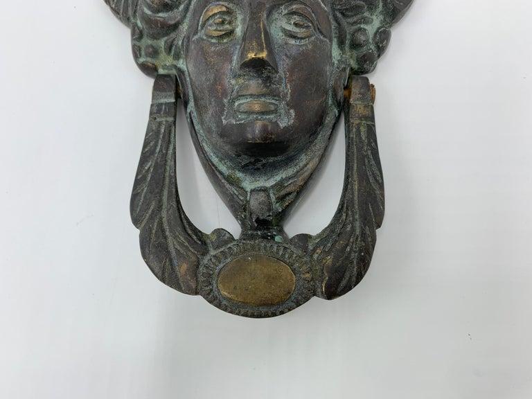19th Century French Bronze Verdigris Female Figure Door Knocker For Sale 1