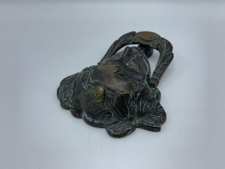 19th Century French Bronze Verdigris Female Figure Door Knocker For Sale 4