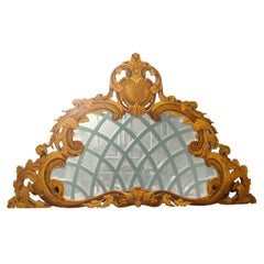 19th c French Carved and Mirrored Pediment