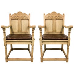 19th Century French Carved Bleached Oak Armchairs, a Pair