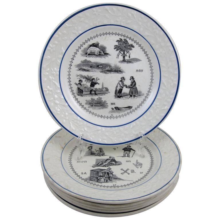 19th C. French Creil et Montereau Transferware Rebus Puzzle Dessert Plates, S/6 For Sale 4