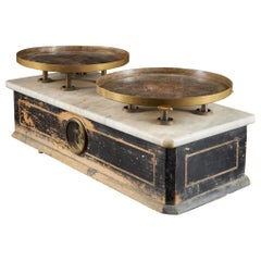19th Century French Culinary Scale with Two Copper Plateaux