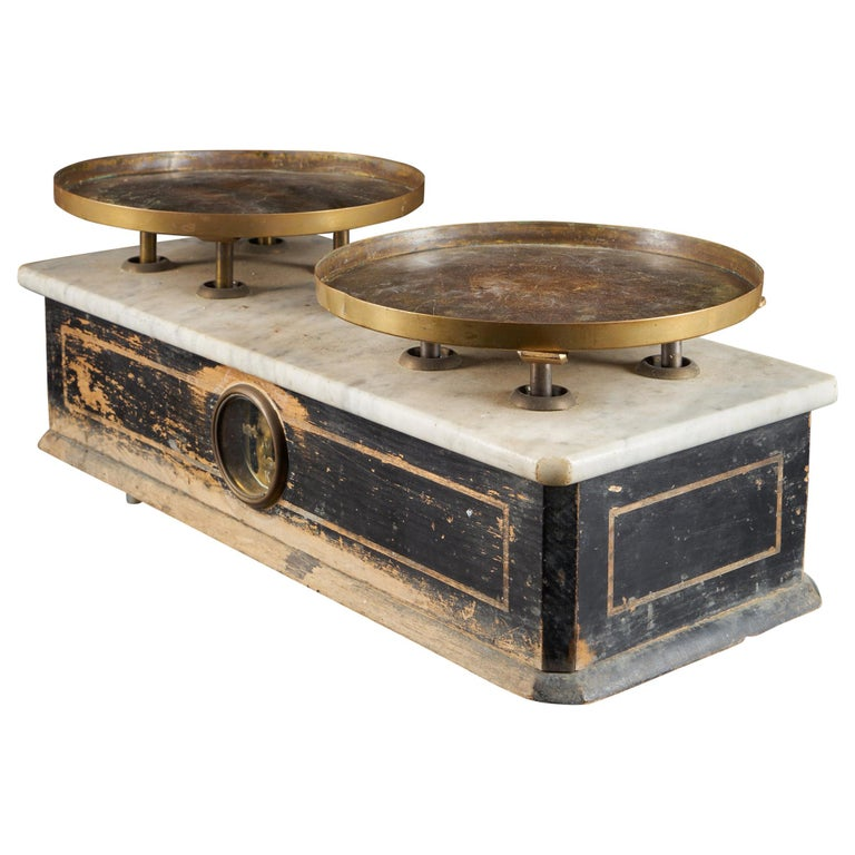 19th Century French Culinary Scale with Two Copper Plateaux For Sale